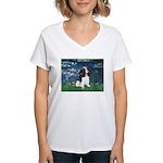 Lilies (5) & Tri Cavalier Women's V-Neck T-Shirt