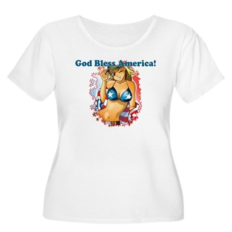 God Bless America Women's Plus Size Scoop Neck T-S