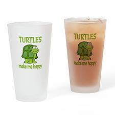 Turtle Happy Drinking Glass
