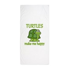 Turtle Happy Beach Towel