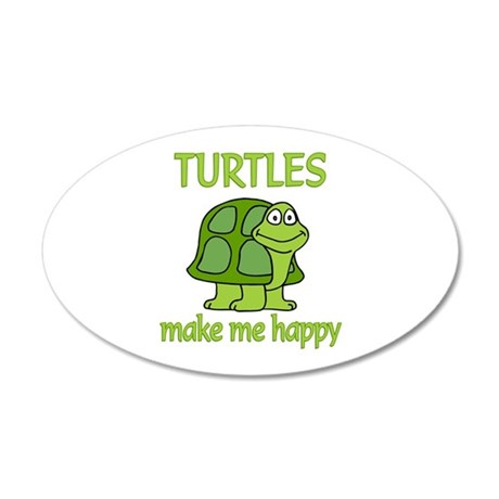 Turtle Happy 20x12 Oval Wall Decal