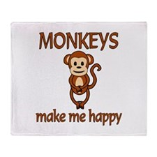 Monkey Happy Throw Blanket