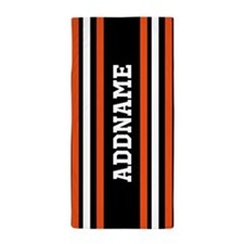 Custom Orange Black White Stripes Beach Towel