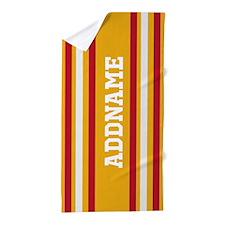 Yellow Red White Stripes Custom Beach Towel
