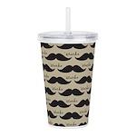 Mustache Vintage Retro Acrylic Double-wall Tumbler
