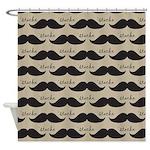 Mustache Vintage Retro Shower Curtain