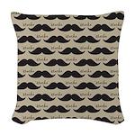 Mustache Vintage Retro Woven Throw Pillow