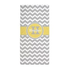 Gray Yellow Chevron Personalized Beach Towel