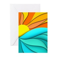 Abstract Ocean Sunset Greeting Cards (Pk of 10)