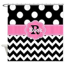 Pink Black Dots Chevron Personalized Shower Curtai
