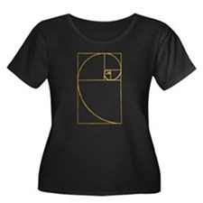 Golden Ratio Sacred Fibonacci Spiral Plus Size T-S