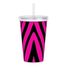 Pink Zebra Acrylic Double-Wall Tumbler