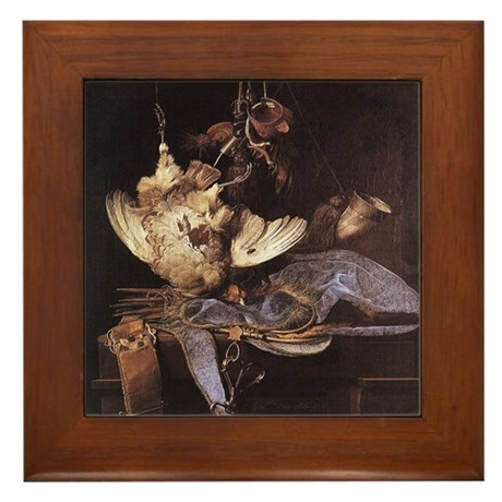Still-Life with Hunting Equip Framed Tile