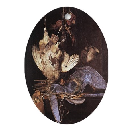 Still-Life with Hunting Equip Oval Ornament