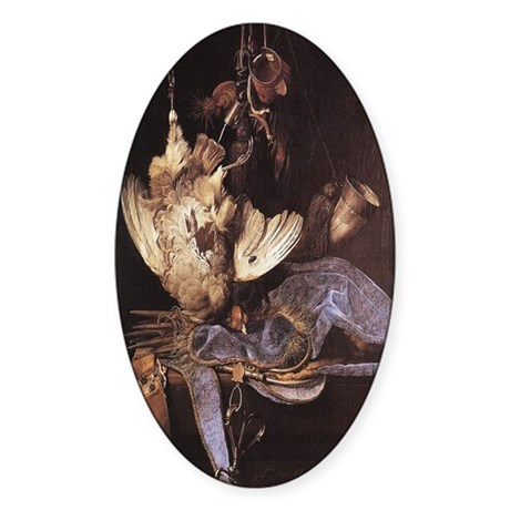 Still-Life with Hunting Equip Oval Sticker