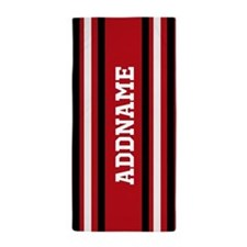 Custom Red White Black Stripes Beach Towel