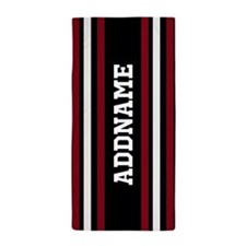 Red White Black Jersey Stripe Beach Towel