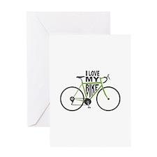 I Love My Bike Greeting Cards