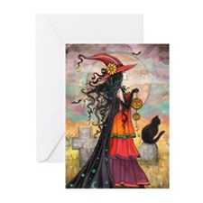 Witch Way Halloween Witch Art Greeting Cards