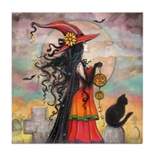 Witch Way Halloween Witch Art Tile Coaster