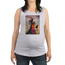 Witch Way Halloween Witch Art Maternity Tank Top
