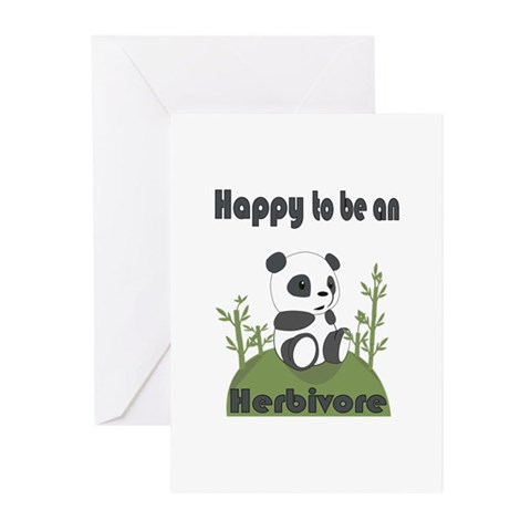 Happy To Be A An Herbivore Greeting Cards