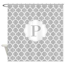 Gray White Quatrefoil Monogram Shower Curtain