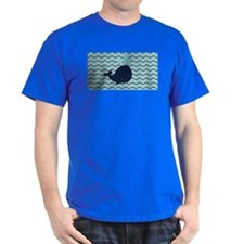 Blue Whale on Chevron Stripe T-Shirt