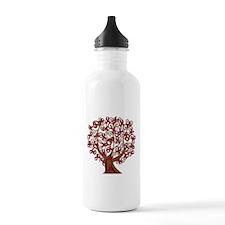 Burgundy Awareness Ribbon Tree Water Bottle