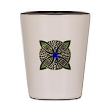 Green Gold Blue Celtic Knot Doodle Shot Glass