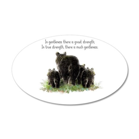 Gentle Strength Quote with Black Bear Family art D