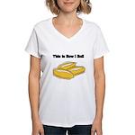 How I Roll (Italian Rolls) Women's V-Neck T-Shirt