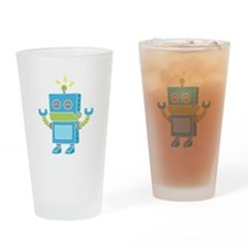 Cute and Happy Blue Robot Drinking Glass