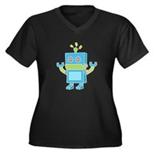 Cute and Happy Blue Robot Plus Size T-Shirt