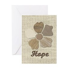 Hope Fabric Flower Collage with Text Greeting Card