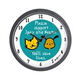 Save Lives Spay & Neuter Wall Clock