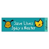 Save Lives Spay & Neuter Bumper Bumper Stickers