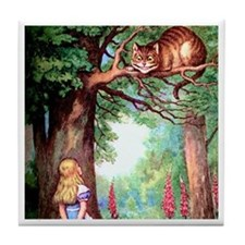 Alice and the Cheshire Cat Tile Coaster