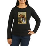 Flowers & Tri Cavalier Women's Long Sleeve Dark T-