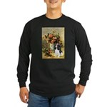 Flowers & Tri Cavalier Long Sleeve Dark T-Shirt