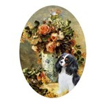 Flowers & Tri Cavalier Ornament (Oval)