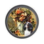Flowers & Tri Cavalier Wall Clock