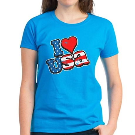 I Love USA Women's Dark T-Shirt