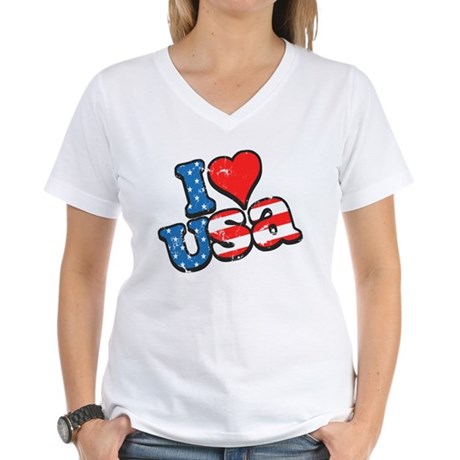 I Love USA Women's V-Neck T-Shirt