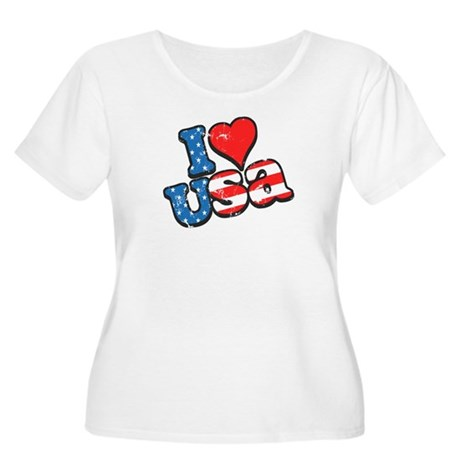 I Love USA Women's Plus Size Scoop Neck T-Shirt