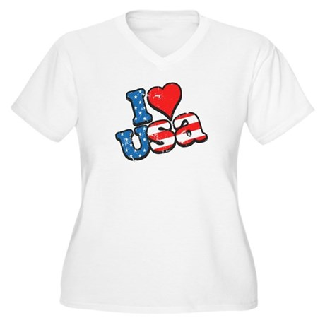 I Love USA Women's Plus Size V-Neck T-Shirt