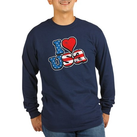 I Love USA Long Sleeve Dark T-Shirt