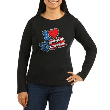 I Love USA Women's Long Sleeve Dark T-Shirt