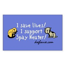 I Save Lives! Spay & Neuter Sticker (Rect.)