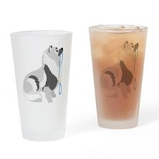 Keeshond Leash Drinking Glass